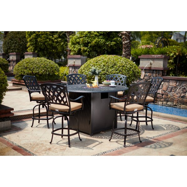 Miltenberger 7 Piece Bar Height Dining Set with Cushion and Firepit by Canora Grey