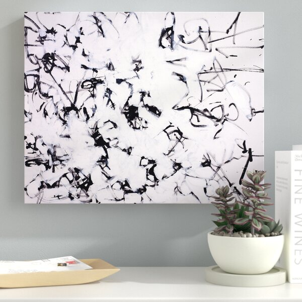Black and White Abstract Framed Painting Print on Wrapped Canvas by Latitude Run