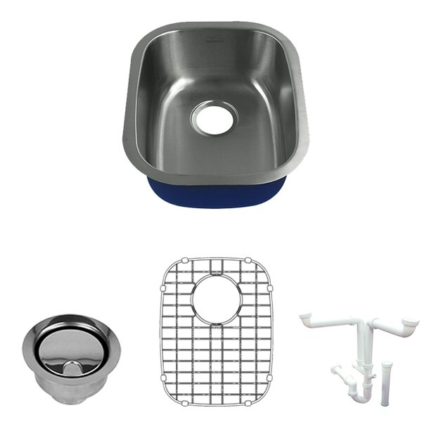 Meridian 18 L x 15 W Undermount Kitchen Sink with Sink Grid and Drain Assembly by Transolid