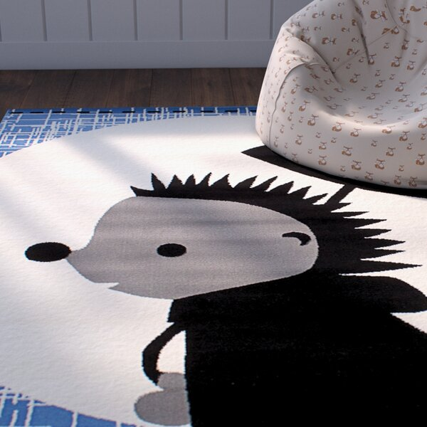 Luann Slate Blue Hedgehog Area Rug by Zoomie Kids