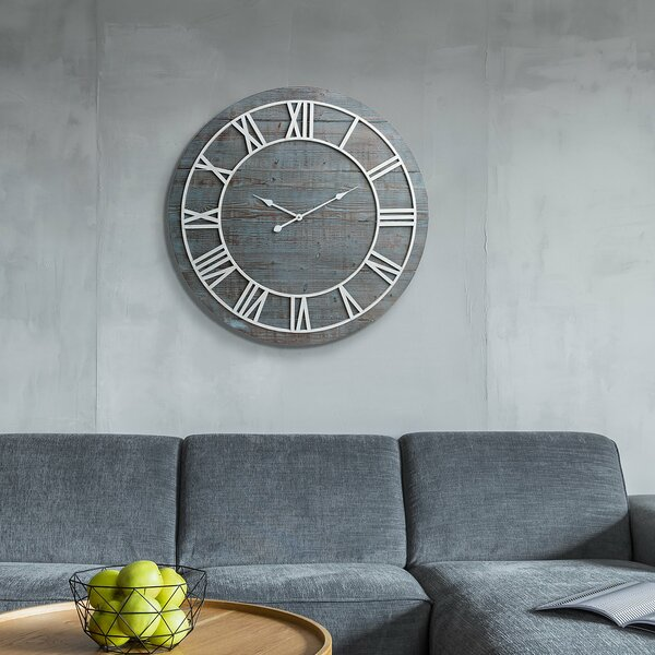 Oversized Cato Rustic Wood Framesless 36 Wall Clock by Union Rustic