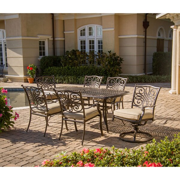 Lauritsen 7 Piece Oil Rubbed Bronze Dining Set with Cushions by Three Posts