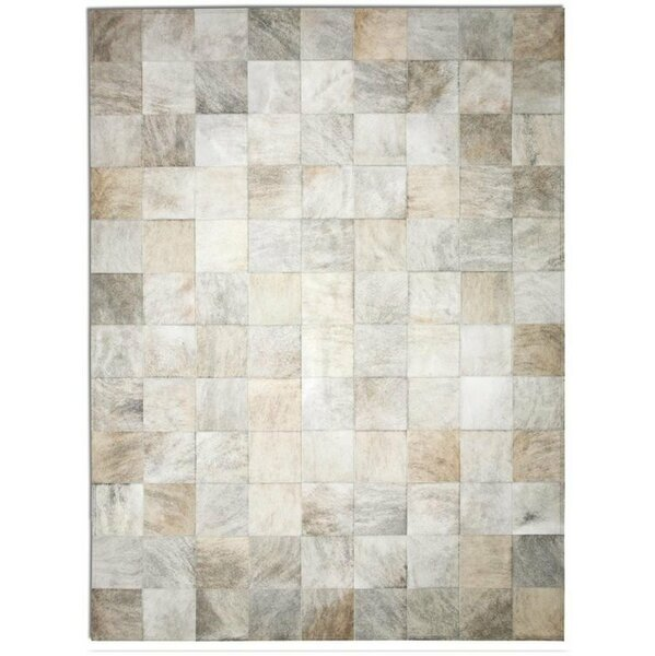 One-of-a-Kind Bellomy Brindle Patchwork Hand-Woven Cowhide Gray Area Rug by Foundry Select