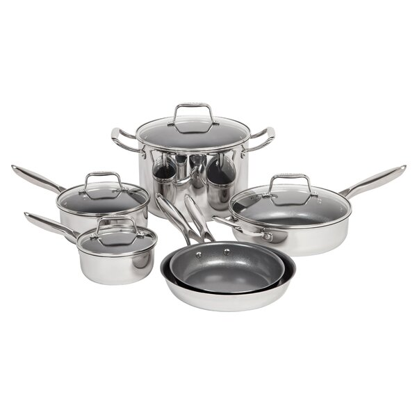 10 Piece Non-Stick Stainless Steel Cookware Set by MAKER Homeware™