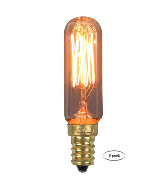 25W Amber E12/Candelabra Incandescent Vintage Filament Light Bulb (Set of 6) by Urbanest