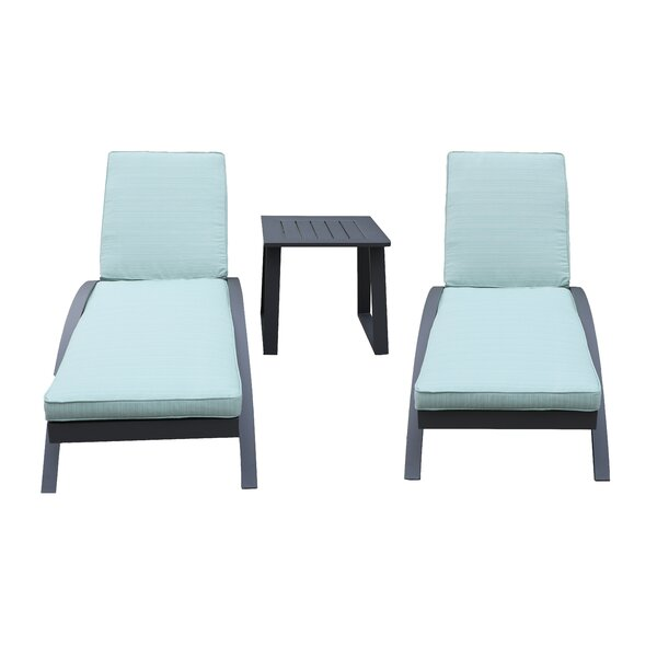 Kailua Sun Lounger Set with Cushions and Table by Orren Ellis Orren Ellis