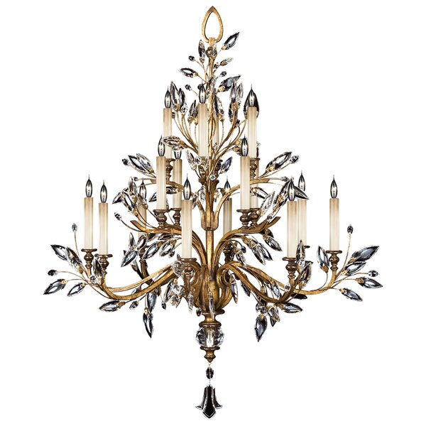 Crystal Laurel 16-Light Candle Style Tiered Chandelier By Fine Art Lamps