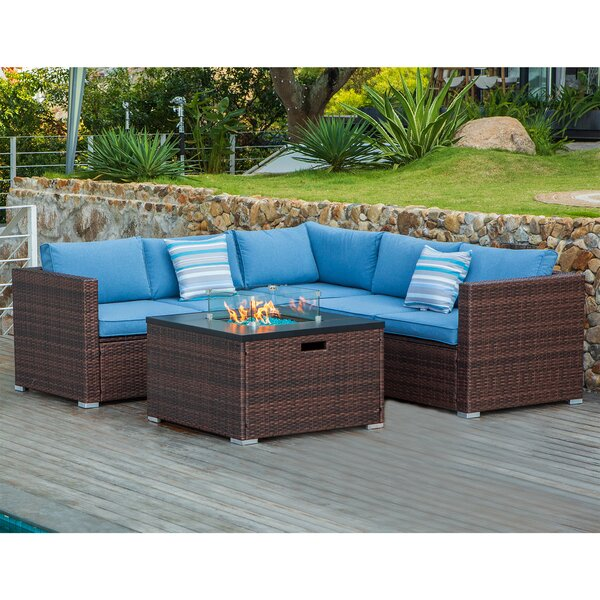 Maia 4 Piece Sectional Seating Group with Cushions by Bayou Breeze Bayou Breeze