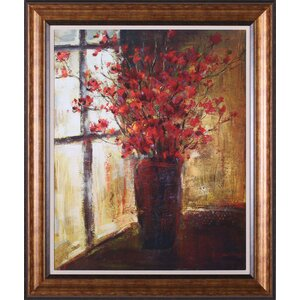 'Vase of Red Flowers' Framed Painting Print by Darby Home Co