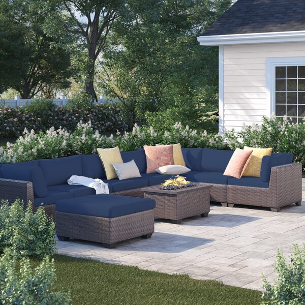 Fernando 9 Piece Sectional Seating Group with Cushions by Sol 72 Outdoor