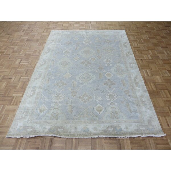 One-of-a-Kind Josephson Turkish Oushak Hand-Knotted Wool Sky Blue Area Rug by Canora Grey
