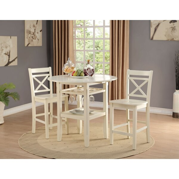 Gennessee 3 Piece Counter Height Drop Leaf Dining Set by Gracie Oaks Gracie Oaks