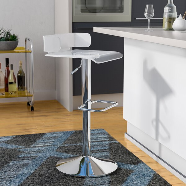 Thatcher Adjustable Height Swivel Contemporary Bar Stool by Wade Logan