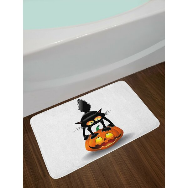 Halloween Black Cat on Pumpkin Bath Rug by East Urban Home