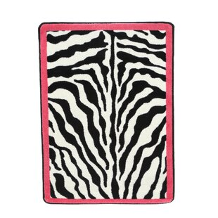 Braunstein Zebra Glam Pink Passion Black/White Area Rug By World Menagerie