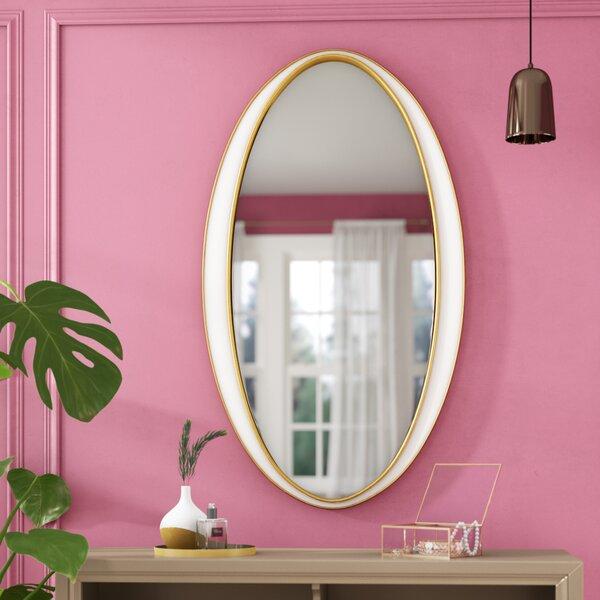Brilliana Oval Gold Trimmed Accent Wall Mirror by Willa Arlo Interiors