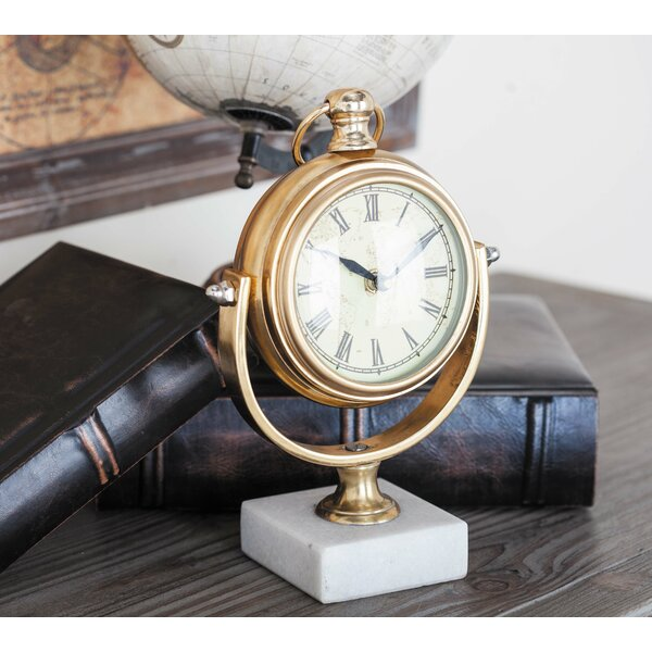 Aluminum Marble Table Clock by Cole & Grey
