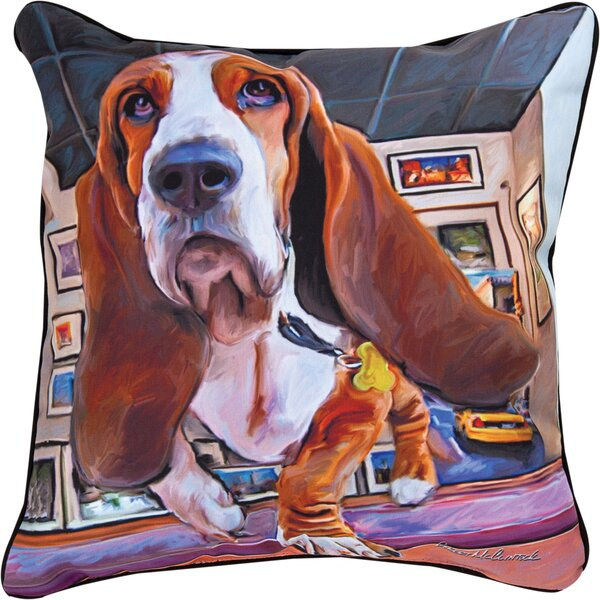 Bumping Along Basset Hound Throw Pillow by Manual Woodworkers & Weavers