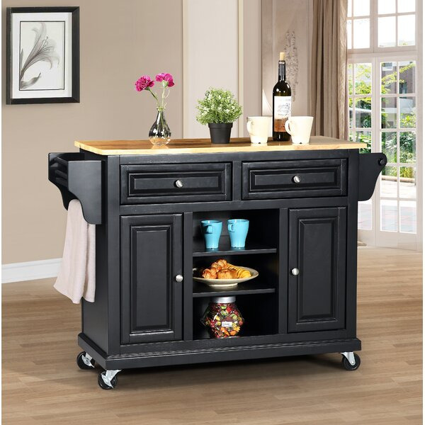 Raynham Kitchen Island with Solid Wood Top by Charlton Home