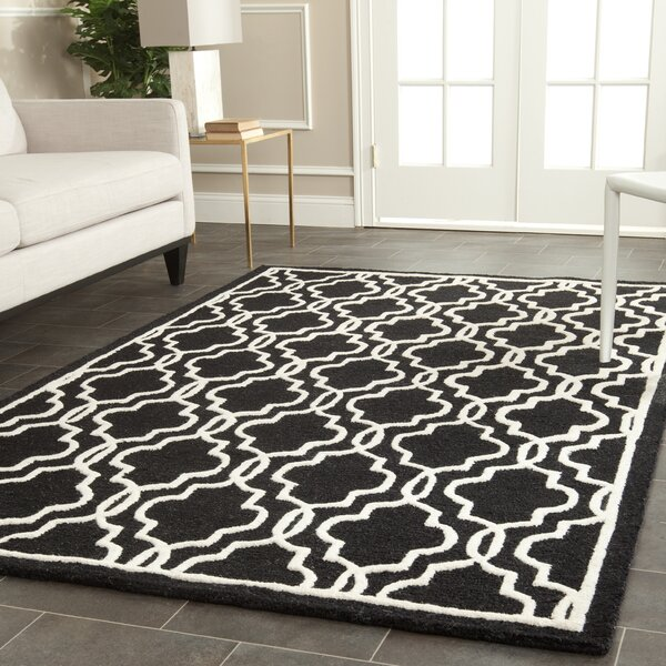 Martins Hand-Tufted Wool Black Area Rug by Wrought Studio