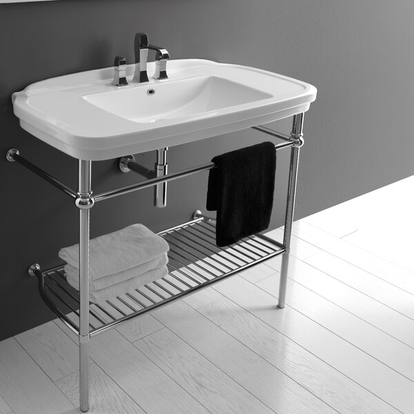 Nova Ceramic 40 Console Bathroom Sink with Overflow by WS Bath Collections