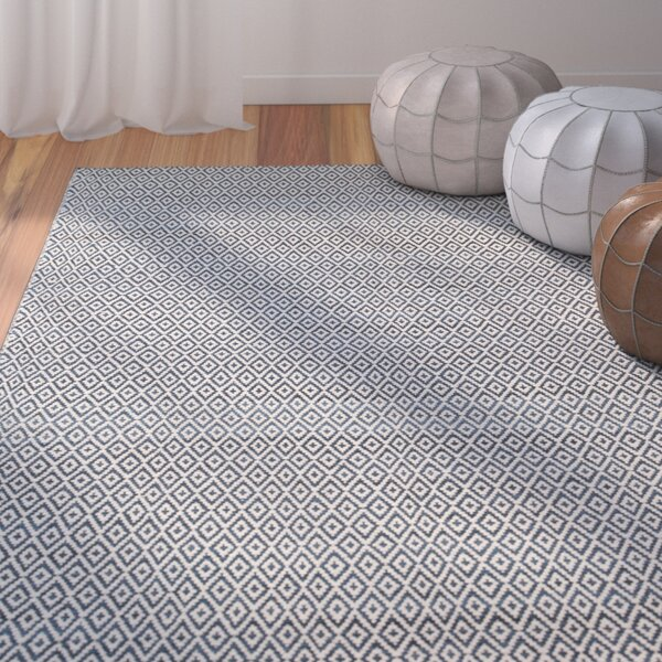 Brooklington Handwoven  Flatweave Wool Blue Area Rug by Bungalow Rose