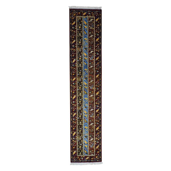One-of-a-Kind Govan Shawl Kashkuli Oriental Hand-Knotted Red Area Rug by World Menagerie