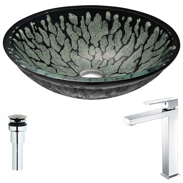 Bravo Glass Circular Vessel Bathroom Sink with Fau