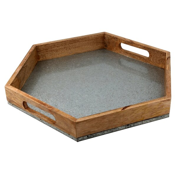 Mertz Hexagon Mango Wood and Galvanized Iron Serving Tray by Laurel Foundry Modern Farmhouse
