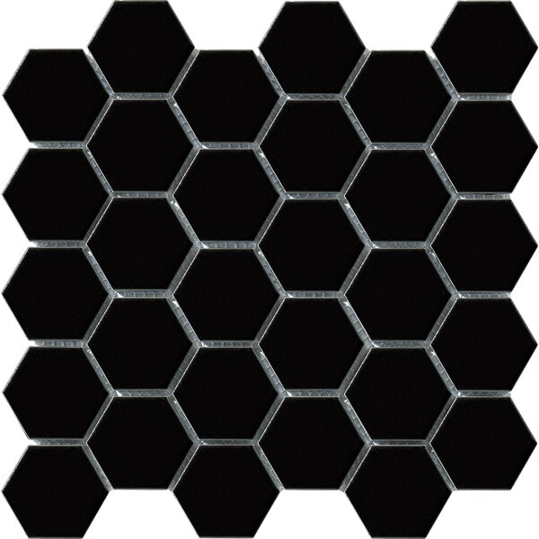 Vintage 2 x 2 Porcelain Mosaic Tile in Black Hexagon by Walkon Tile