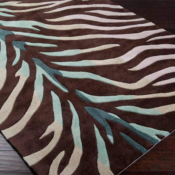 Callum Chocolate/Sage Rug by Bloomsbury Market