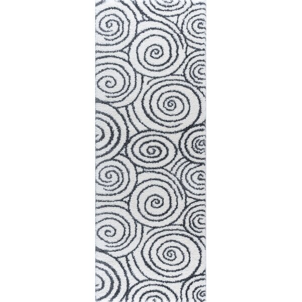 Arthemus Cream/Charcoal 2 Ft. 7 In. x 7 Ft. 3 In. Shag Area Rug by Latitude Run