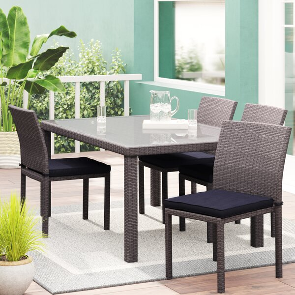 Finola Patio 5 Piece Dining Set with Cushions by Beachcrest Home