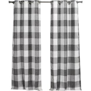 Check Plaid Gray And Silver Curtains Drapes