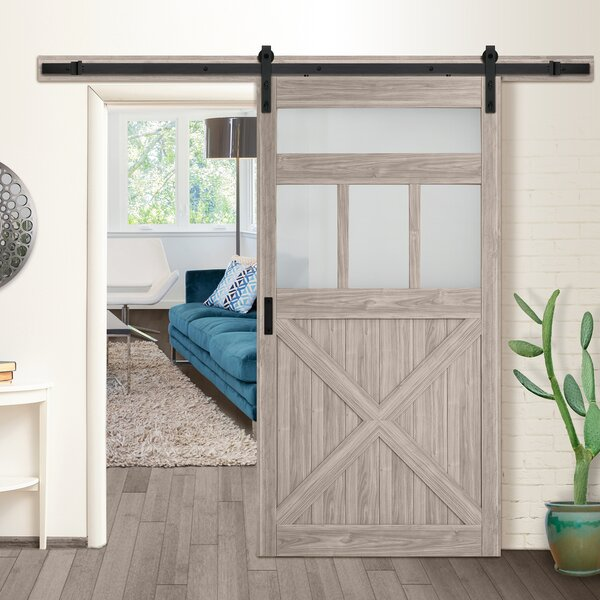 Frosted Glass Rustic Barn MDF Room Dividers Door by Erias Home Designs