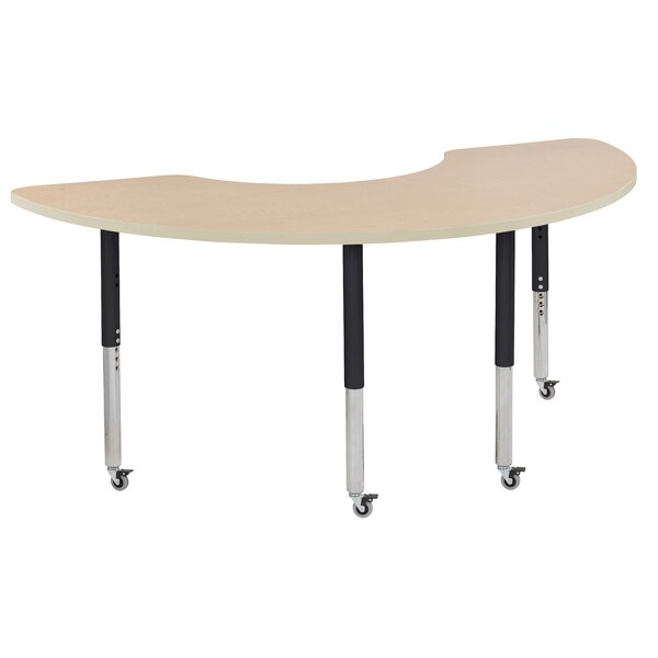 Half Moon Maple Top Thermo-Fused Adjustable 36 x 72 Horseshoe Activity Table by ECR4kids