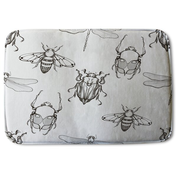 Deidrich Sketch of Scarab Beetle, May Bug, Bee and Dragonfly Designer Rectangle Non-Slip Bath Rug