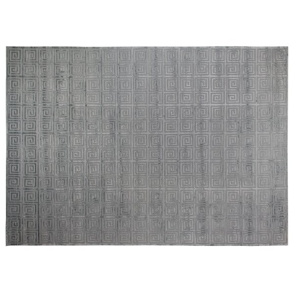Greek Key Greco Hand-Knotted Wool Aqua Area Rug by Exquisite Rugs
