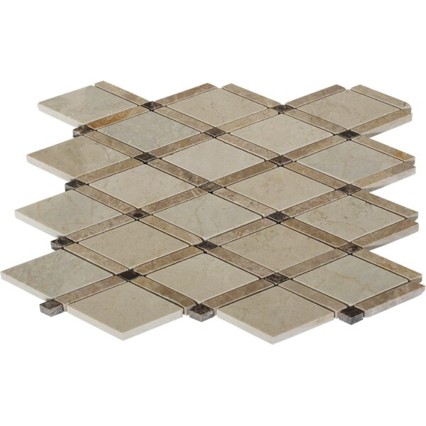 Grand Random Sized Marble Mosaic Tile in Crema Marfil by Splashback Tile