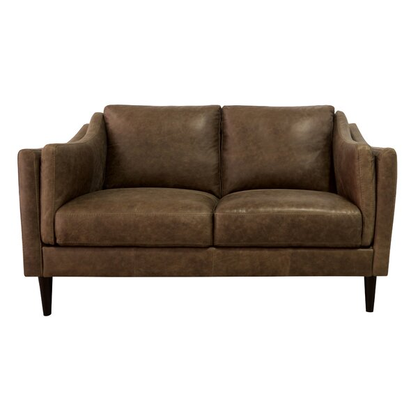 Hot Price Riley Leather Loveseat by Union Rustic by Union Rustic