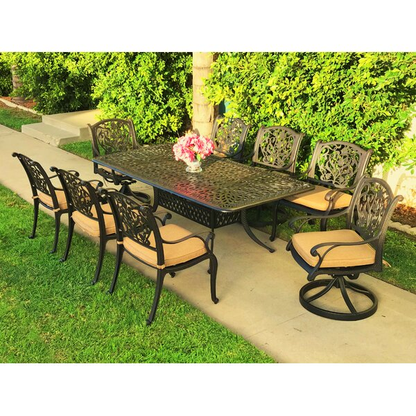 Camptown 9 Piece Sunbrella Dining Set with Cushions by Fleur De Lis Living
