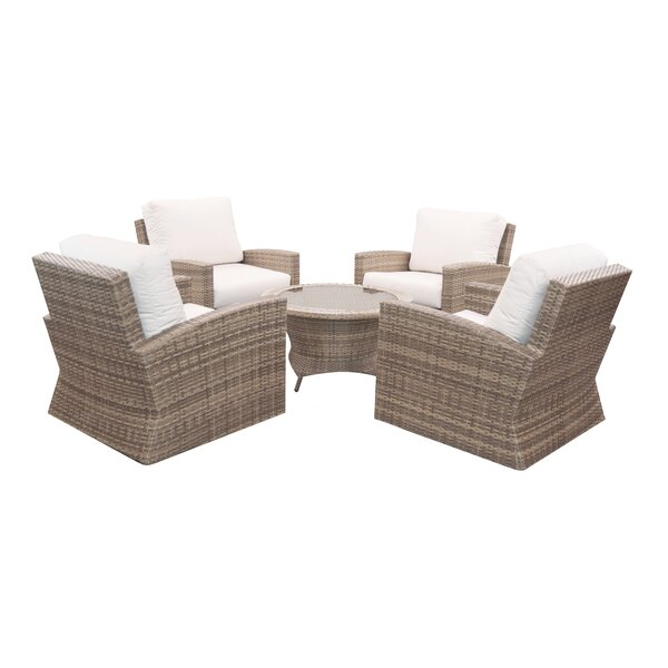 Norfolk 5 Piece Sunbrella Multiple Chairs Seating Group with Cushions by Rosecliff Heights