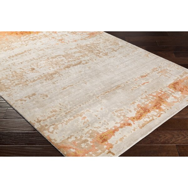 Laporte Hand-Knotted Beige/Orange Area Rug by Gracie Oaks