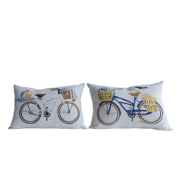 Edgardo 2 Piece Bicycle Cotton Lumbar Pillow Set by Highland Dunes