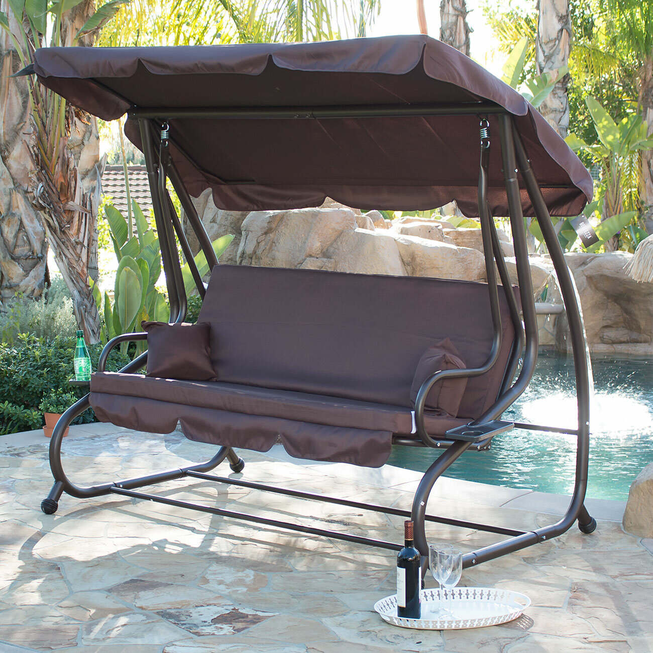 Belleze Canopy Porch Swing with Stand