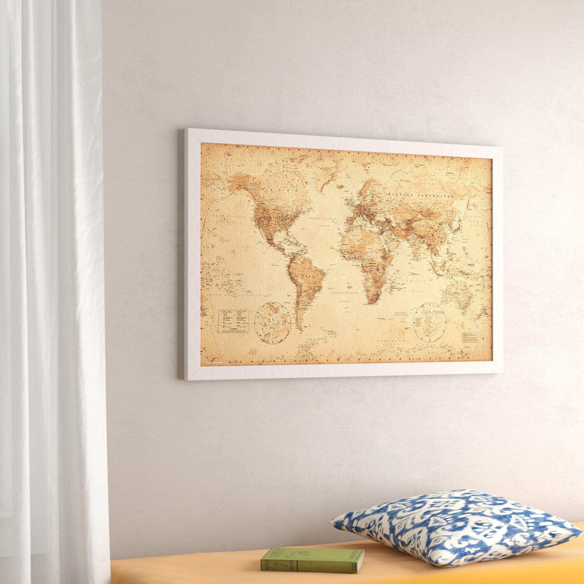 Alcott Hill \'World Map Antique\' Horizontal Rectangle Framed Graphic ...