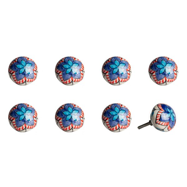 Handpainted Vintage Ceramic Round Knob (Set of 8) by Taj Hotel