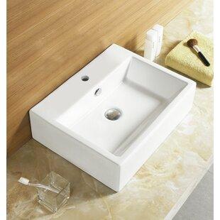 Ceramic Rectangular Vessel Bathroom Sink with Overflow ByRoyal Purple Bath Kitchen
