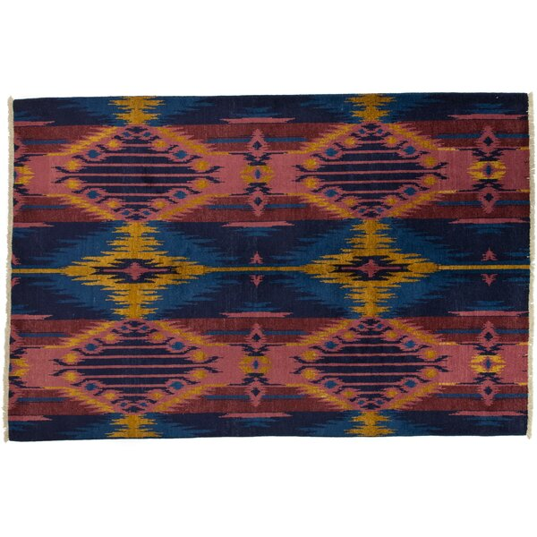 One-of-a-Kind Ikat Hand-Knotted Multicolor Area Rug by Darya Rugs