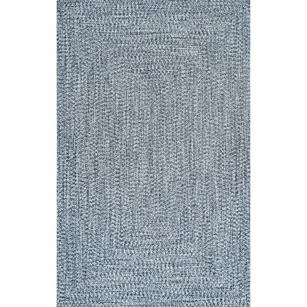 Moseley Hand-Braided Medium Blue/Off-white Indoor/Outdoor  Area Rug By Wade Logan
